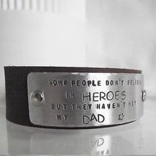 """Handmade Personalised """"...believe in heroes..."""" Leather Cuff Unique Gift Dad"""