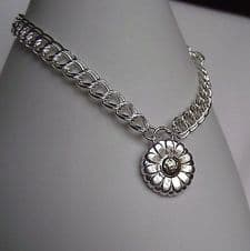 Lovely Detailed Handmade Daisy Silver 999 & 24ct Gold Charm Bracelet Unique Gift