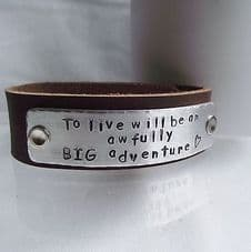 """Lovely Handmade Personalised """"...an awfully BIG adventure"""" Leather Cuff Bangle"""