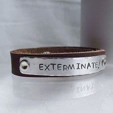 """Lovely Handmade Personalised Dr Who """"EXTERMINATE!..."""" Leather Cuff Bangle"""