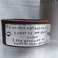 """Lovely Handmade Personalised Dr Who """"I am the optimist"""" Leather Cuff Bangle"""