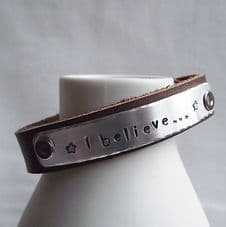 """Lovely Handmade Personalised """"I believe..."""" Leather Statement Cuff Bangle"""