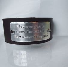 """Lovely Handmade Personalised """"I love deadlines..."""" Leather Statement Cuff Bangle"""