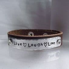 """Lovely Handmade Personalised """"Live Laugh Love"""" Leather Statement Cuff Bangle"""