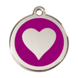 32 mm Stainless Steel Purple Printed Circle Pet ID Tag For Dogs & Cats