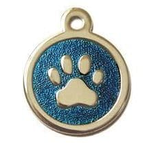 32mm Stainless Steel with Blue Glitter Paw Print ID Tags