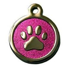 32mm Stainless Steel with Pink Glitter Paw Print ID Tags