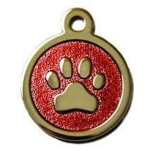 32mm Stainless Steel with Red Glitter Paw Print ID Tags