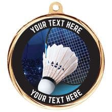 Custom Made Bespoke Badminton Medal 55mm Including Ribbon
