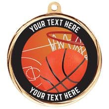 Custom Made Bespoke Basketball Medal 55mm  Including Ribbon