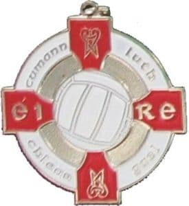 Silver & Red 34mm Gaelic Football Medal