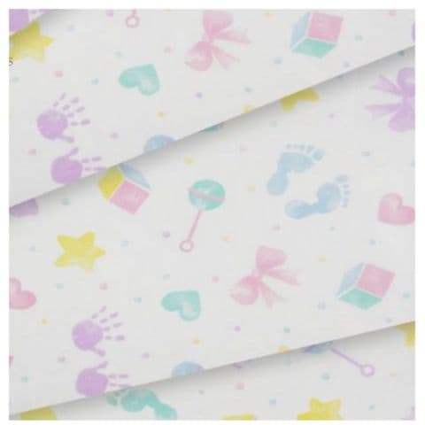 Baby Hand & Foot Prints Patterned New Born / Christening Tissue Wrapping Paper ~ Large Sheets ~ 50cm x 75cm