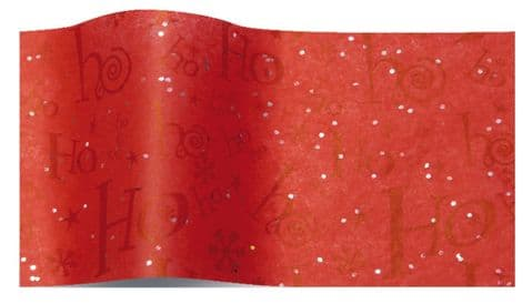 Christmas Red Ho Ho Ho Sparkly Gemstone Tissue Wrapping Paper Sheets ~ Large Sheets ~ 50cm x 75cm