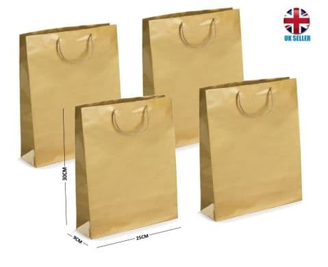 Gold Gloss Laminated Portrait Boutique Gift Bags