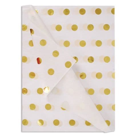 Gold Spots Patterned Tissue Wrapping Paper ~ Large Sheets ~ 50cm x 75cm