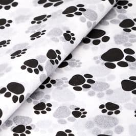 Paw Prints Patterned Tissue Wrapping Paper ~ Large Sheets ~ 50cm x 75cm