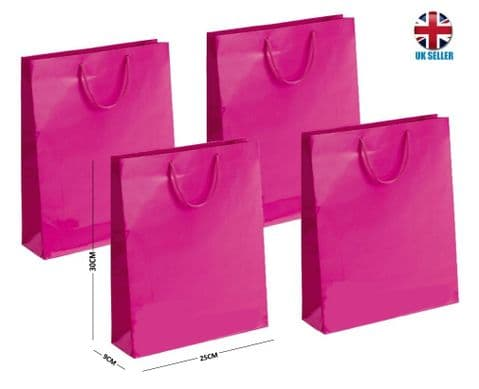 Pink Gloss Laminated Portrait Boutique Gift Bags