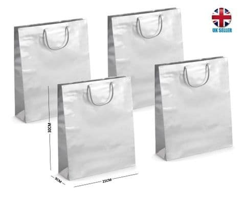 Silver Gloss Laminated Portrait Boutique Gift Bags