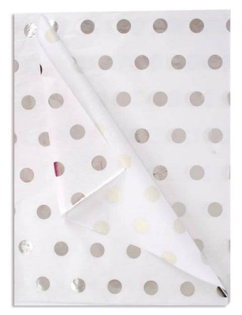 Silver Spots Patterned Tissue Wrapping Paper ~ Large Sheets ~ 50cm x 75cm