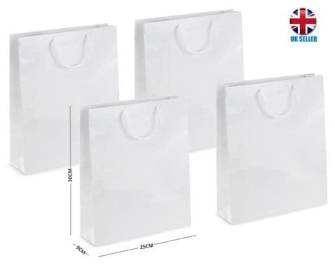 White Gloss Laminated Portrait Boutique Gift Bags