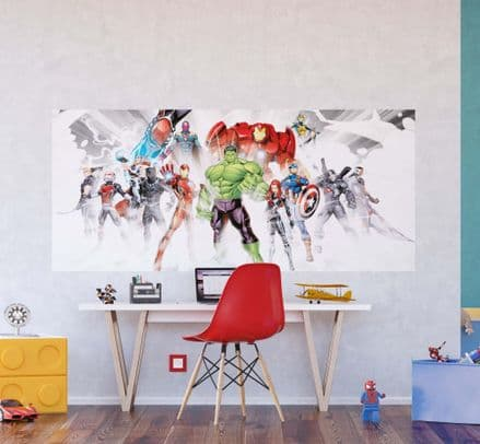 "Avengers panoramic mural wallpaper 202x90cm ""White"""