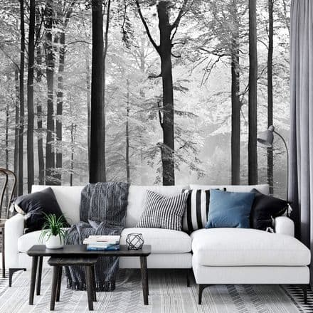 """Black and white forest """"Avalon"""" wall mural wallpaper Premium"""