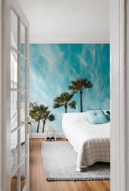 Blue Sky Background and palms wallpaper mural