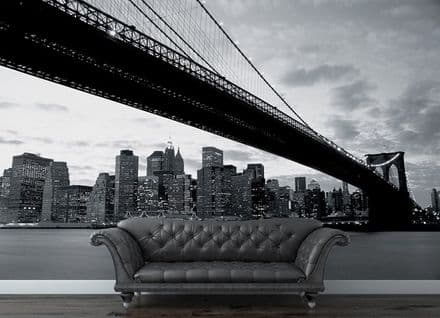 Brooklyn Bridge black & white wall mural wallpaper