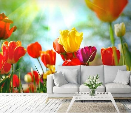 Colourful spring flowers wall mural