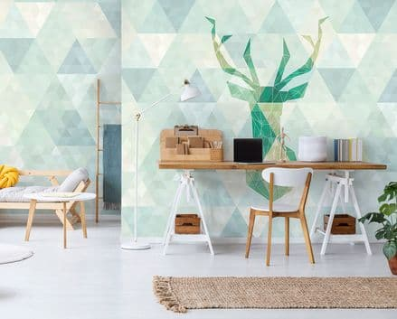 Deer Design - Green non-woven wallpaper