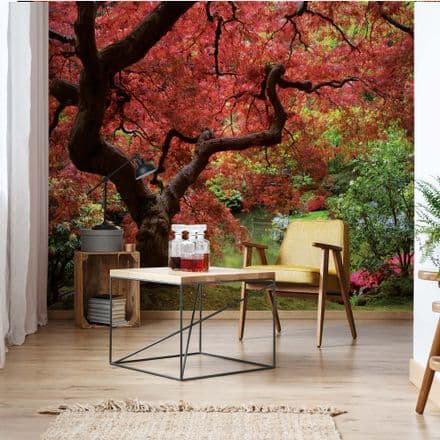 "Easy to apply wallpaper ""Flowering Red  Tree"""