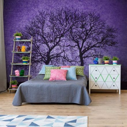 Easy to Install wallpaper Purple Sky & Trees