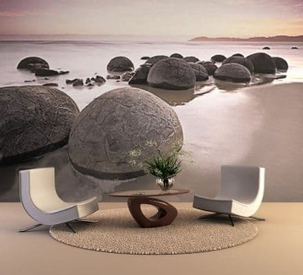 Giant Round stones on the beach photo wallpaper
