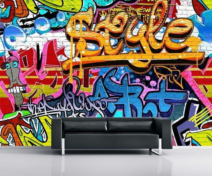 Graffiti on the wall wallpaper murals | Online store