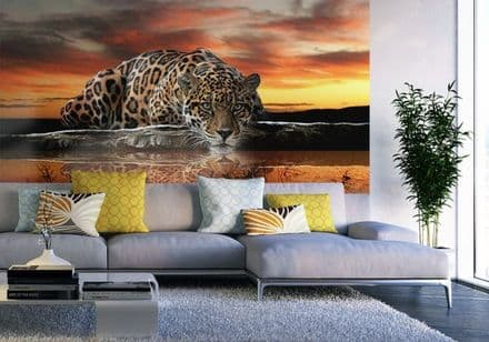 Jaguar wild cat wallpaper mural