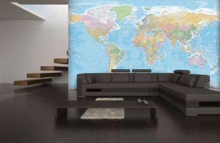 Map of the World non-woven wall mural