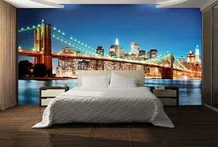 New York East River non woven wallpaper