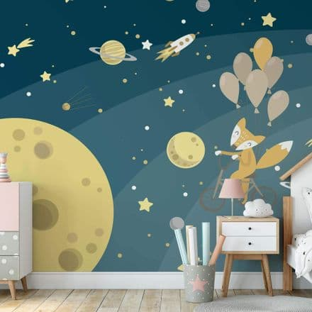 Nursery Paper photo wallpaper Space Fox