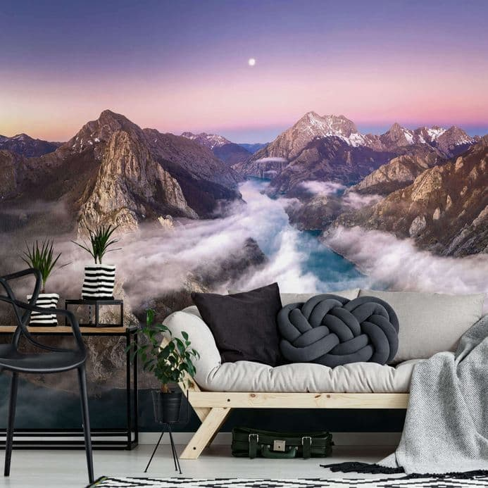 Living room photo wallpapers Over the Mountains  | Shop online