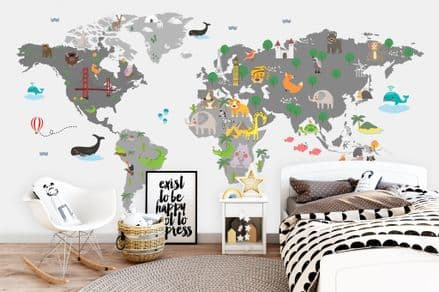 "Paper photo wallpaper ""Animals of the World Map"" grey"