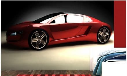 Red sports car wall murals