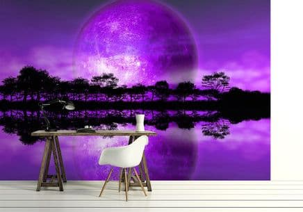 "Rising moon ""Purple planet"" wall mural"