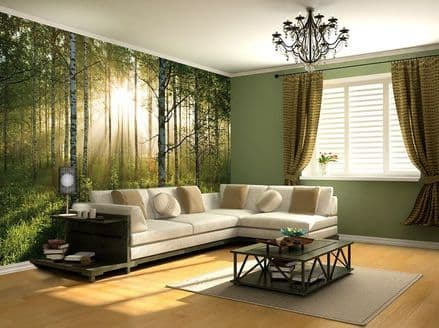 Sunny green Forest wall mural wallpaper