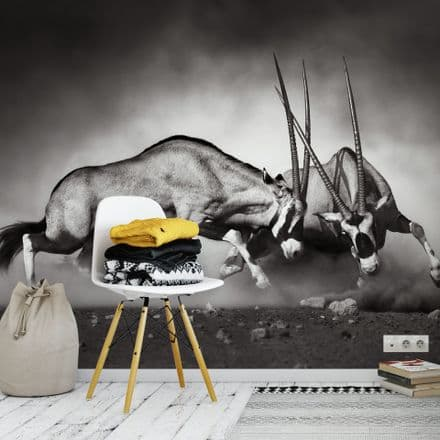 the Duel fighting animals wall mural wallpaper 260 x 384cm