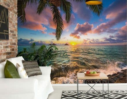 Tropical Scenery Beach & Palms wallpaper mural Easy to Install