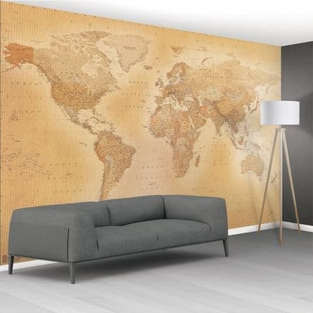 Vintage Map of the World HQ wall mural