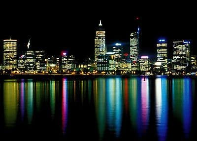 Wall mural photo wallpaper PERTH AT NIGHT 115x175cm wall art Black Cityscape