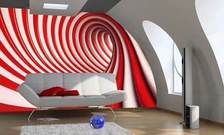 Wall mural photo wallpaper Red and white abstract