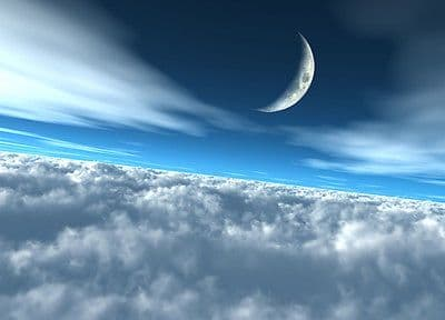 Wall mural wallpaper MOON OVER CLOUDS Large size wall art - Blue cloudy sky