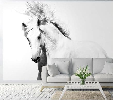 White horse mustang wall mural